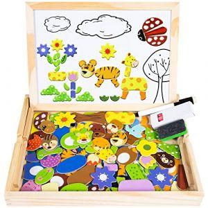 Puzzles Enfant en Bois Magnétique, COOLJOY Jigsaw avec Tableau Noir de Chevalet à Double Face Jouets Educatif pour Bambin Enfants Fille 3 Ans 4 Ans 5 Ans - 100 Pièces (Animaux) (DOOKEY, neuf)