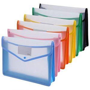 ipow 6PCS Pochette Plastique A4 à Bouton Pression Polypropylène Porte-document Enveloppe Transparente Chemise peut Contenir jusqu'à 800 Feuilles, Classer des papiers Fente pour Carte - 6 Couleurs (Ipow-Official, neuf)