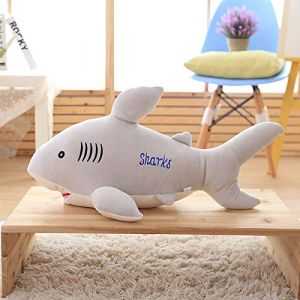 Requin jouet en peluche grand requin blanc poupée oreiller sommeil chiffon poupée enfants cadeau femme gris clair 85 cm (lizhaowei531045832, neuf)