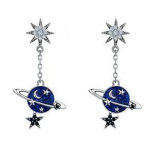 Joielavie Boucles d'Oreilles Pendantes en Argent 925 pour Femme Fille avec Zircon Chaîne Planète Univers Lune Etoile Bijoux (Joielavie, neuf)