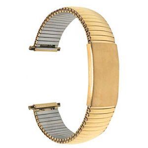 Bandini 22mm Bracelet de Montre Extensible en Acier Inoxydable pour Homme, Ton Or, Longueur Ajustable, Bracelet Montre en métal à Expansion, sans Boucle (Shoptictoc., neuf)