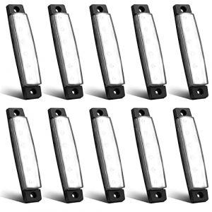 Feux de Gabarit LED Feux Latéraux Eclairage,LED Côté Marqueur Feux Indicateurs De Position Blanc 24V Étanche LED Feux de côté pour Camion Remorque Camion Bus Bateau (YuanGu, neuf)