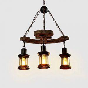 Dicai 3 * verre lanterne luminaire lustre réglable en bois pendentif lumière Vintage industrielle lampe suspendue rétro métal E27 suspension for restaurant à thème Bar Farmhouse Winery (Xin Hongming, neuf)