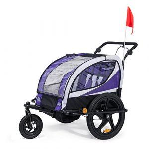 SAMAX Remorque Vélo convertible Jogger 2en1 360° rotatif Pour 2 Enfants Amortisseur Transport Poussette en Pourpre - Black Frame (MA-Trading, neuf)