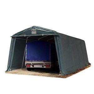 TOOLPORT Abri/Tente Garage Premium 3,3 x 6,2 m pour Voiture et Bateau - Toile PVC 500 g/m² Imperméable Vert Fonce (INTENT24, neuf)