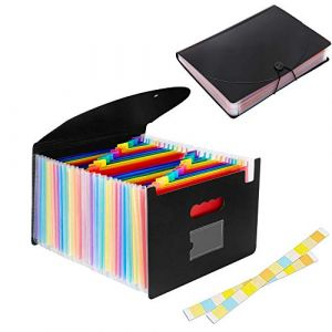HyAdierTech Trieur Valisette, Accordéon Classeur Pochettes Porte-documents avec 24 Compartiments en Format A4 Haute Capacité Portable Extensible Multicolore File Debout Accordéon de Document (SG Top, neuf)