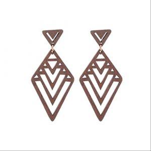 Boucle d'oreille Dangle femme bijoux en bois géométrique losange creux se chevauchant inversé Triangle Stud boucle d'oreille fête cadeaubrun (Graceguoer, neuf)