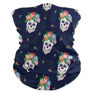 QMIN Bandeau Tête de mort en sucre Motif feuilles florales Bandana Visage Protection solaire Masque Cagoule magique Cagoule pour femmes Hommes Garçons Filles (QMIN, neuf)