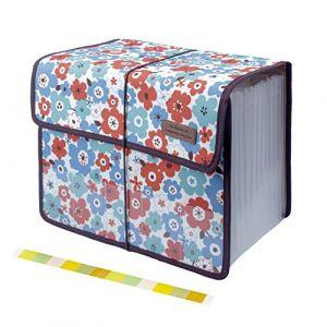 Uquelic Trieur Documents Porte Documents Extensible en Oxford à 13 Poches A4 Format En Accordéon Organiseur Avec Motif Floral (Rouge) (Jolicobo, neuf)