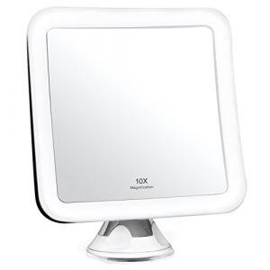 Fancii Miroir Grossissant 10x de Maquillage avec Lumières LED - Miroir Éclairé de Voyage - Ventouse d'Attache, Sans Fil, Ajustable à 360°, Miroir Éclairé Carré Portable (Fancii, neuf)