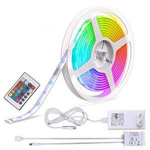 B.K.Licht ruban LED 5m, guirlande lumineuse extérieur, avec télécommande, lumière décorative blanche et multicolore, 16 couleurs, dimmable, adhésif (B.K.Licht, neuf)