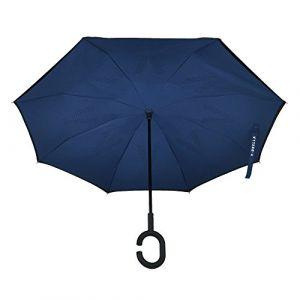 V-BRELLA - parapluie inversé, double couche avec poignée antidérapante revêtue de caoutchouc (Noir - Bleu) (Velovendo  Boutique, neuf)