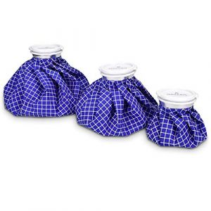 Navaris Set 3x poche de glace - Sac de chaleur et de froid réutilisable pour soulagement de douleur - Vessie de glace 3 tailles - bleu et blanc (KW-Commerce, neuf)