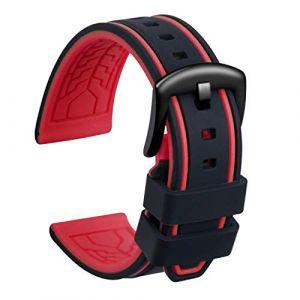 Ullchro Bracelet Montre Remplacer Silicone Bracelet Montre Bicolore - 20, 22, 24, 26mm Caoutchouc Montre Bracelet avec Acier Inoxydable Boucle Noir (20mm, Noir et Rouge) (Ullchro-EU, neuf)