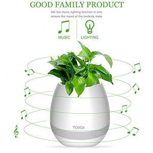 Pot de fleurs original Bluetooth tactile Voumey - Avec enceinte et lumière LED - Créez votre sons et lumières blanc (KUAIKUAILAIDAN, neuf)
