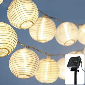CozyHome Guirlande lumineuse solaire à LED pour l'extérieur | Longueur totale 7m | 20 LED blanc chaud – Guirlande lumineuse solaire | Lampions solaires d'extérieur | Guirlande lumineuse solaire balcon (LEHARO, neuf)