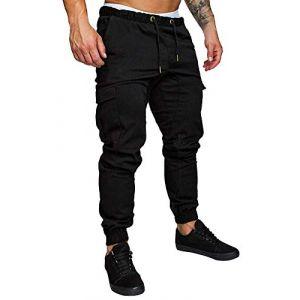 Minetom Homme Pantalons De Sport Running Training Pants Slim Cargo Jogging Couleur Uni Combat Fitness Gym Noir X-Small (ORANNER EU, neuf)