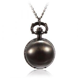 Boule en métal à quartz rétro montre de poche collier pendentif chaîne Noir brillant (Sanwood, neuf)