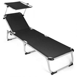 Park Alley - Chaise longue avec Pare-soleil - Facilement pliable - Design sobre et intemporel - Tissu facile d'entretien adapté pour l'Extérieur - Plusieurs Coloris disponibles (home4us, neuf)