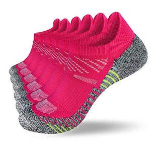 Fioboc 6 Paires Sport Chaussettes Homme et Femmes Basses Respirantes Courtes Compression Running Socquettes Confortable Basiques Chaussettes (Violet, EU 35-38) (Lalamall, neuf)