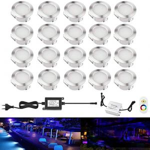 Lot de 20 LED Spot Extérieur Encastrable Lumière de Terrasse Escalier Piscine Enterré Plafonnier,LED Encastrable Lampe Etanche 0.1-0.3W Pour Chemin,RGB [Classe énergétique A] IP67 DC12V RSWLED (Shangchen, neuf)