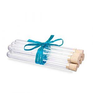 25 x Tubes à essai en plastique avec des bouchons en liège naturel | Éprouvettes | Qualité supérieure ? (150 x Ø16 mm) (Tuuters, neuf)