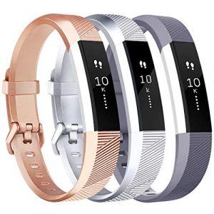 Tobfit Bracelet pour Fitbit Alta/Fitbit Alta HR Replacement en TPU Confortable Réglable Sport Bracelet Accessorie pour Fitbit Alta et Alta HR (No Tracker) (3-Pack Rose Gold+Argent+Gris, Grand) (SMXMY-CN, neuf)