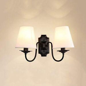 Dicai Double Tête Applique Murale Tissu Lampe Murale Américain Minimaliste Applique Murale Chambre Lampe De Chevet En Métal 2 Lumière 2 Bras E14 Edison Intérieur Maison Lumières Salon Allée (Xin Hongming, neuf)
