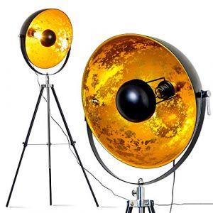 Lampe sur pied projecteur Saturn XXL – Lampadaire trépied en métal noir avec coupole dorée pivotante et pied télescopique – Luminaire design industriel chic compatible avec des ampoules LED (hofstein, neuf)