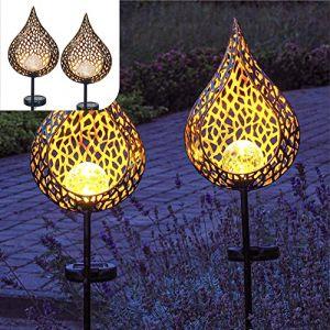 Gadgy Deco Jardin Exterieur Solaire   Lot De 2   Éclairage Pour Chemins Et Terrasse   Lumière Des LED   Décoration Pour L'extérieur   Lampe Terre   Métal Noir Et Or Avec Boule De Verre (Gadgysales, neuf)