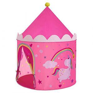 SONGMICS Tente de Jeu Enfant, Château de Princesse, Tipi Pop-up Portable, avec Sac de Transport, intérieur et extérieur, idée Cadeau, Rose et Jaune LPT04PY (Songmics, neuf)