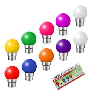 Huamu Ampoules baïonnette B22 - Paquet de 10 ampoule LED Feston 2 W (équivalent 20W), ampoule écoénergétique écoénergétique colorée rouge, petites ampoules de Noël BC Cap (HUAMu, neuf)