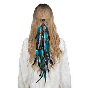 Bandeau en plumes coiffe hippie indienne - coiffes en plumes à gland Boho pour femmes Costume Festival chapeaux (Bleu + blanc) (anjerry, neuf)