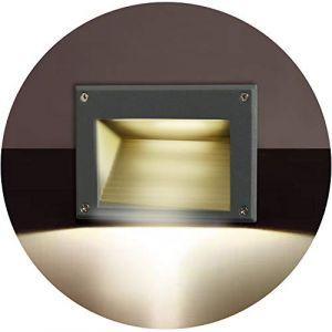 Topmo-plus 3W Lampe de Murales LED pour Terrasse Eclairage Encastré/OSRAM SMD Luminaires Spots intérieurs Exterieur pour Chemin Contremarches d'escalier Piscine IP65 / 3000K / 162 mm gris (Topmo-FR, neuf)
