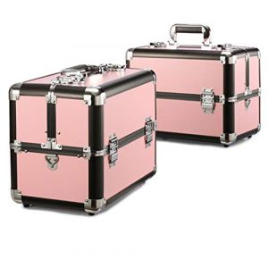 Mallette cosmétique en aluminium multifonctionnelle de valise professionnelle grande valise professionnelle,Pink2 (Wzq-UK, neuf)