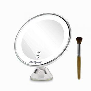 Miroir Grossissant Miroir Maquillage - 10X a grossi la vanité de maquillage, miroir cosmétique illuminé de couleur de lumière du jour,Ventouse d'Attache Ajustable à 360 Miroir Éclairé Portable (BEQOOL-FR, neuf)