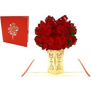 Lin–Pop Up Cartes Fleurs de pop up Cartes d'anniversaire Carte d'anniversaire, Carte pop-up pour la fête des mères fête des mères Gute Besserung Fleurs Carte de vœux, roses, n275 (LIN POP UP KARTEN, neuf)