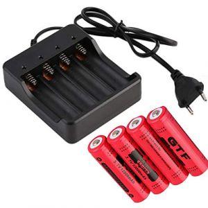 4 Piles ACCUS Rechargeable 18650 3.7V LI-ION 12000mAh + Chargeur pour 4 Piles 18650 | ACCU AKKU Battery Batterie | avec Tete Non Plate | pour Jouet Lampe Torche Lampe Frontale ETC. (PIRABADI, neuf)
