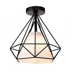 STOEX Retro Plafonnier Industrielle Cage en forme Diamant en Métal Fer Lustre Suspension Luminaire pour Salon Salle Chambre Décorer Maison Cuisine (Noir) (STOEX, neuf)