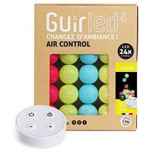 Guirlande lumineuse boules coton LED USB - Télécommande sans fil - Chargeur double USB 2A inclus - 4 intensités - 24 boules - Cocktail (Lighting Arena, neuf)