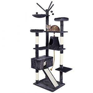 Meerveil Arbre à Chat Grande Palais de Chat Cadre d'escalade de Chat Planche à Gratter, 6 Niveaux avec Toboggan, Berceau, Balançoire, Grand Niches 2 Belvédère pour Le Chat, Hauteur 210cm (Gris) (Zillon, neuf)