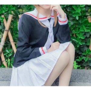 sakura carte captor cosplay costume femme haut + jupe + cravate + perruque marin costume uniforme scolaire filles Kinomoto Sakura Cosplay Costume L seul costume (bilichuanzd, neuf)
