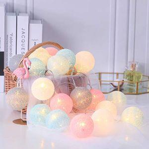 Guirlande Lumineuse boules coton Batterie 3M 20 lumières LED Luminaires Intérieur pour la fête à la maison Halloween Anniversaire Mariage Noël Décor (AYAYA Studios, neuf)