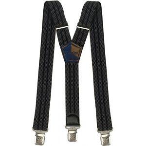 Bretelles Y entièrement réglable pour Homme Femme 4 cm avec 3 Clips élastique Solide Casual Pantalon Jeans Différentes Couleurs Noir, Marron, Bleu (Gris - Noir) (Decalen France, neuf)