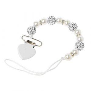 f728fdd753a04 Mentin Attache Sucette pour Bebe Clip Attache Tétine Perles de Cristal  Accroche Tétine Bebe Chaine pour
