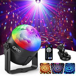 Lampe de Scène, Gvoo 3 Couleur Lumière Fête 5W Ampoules LED 7 RGB à Commande Sonore Mini Projecteur Boule Cristal Eclairage à Télécommande pour Cadeau Scène Fête Soirée DJ Disco Bars Clubs Karaoké (GVOO Direct, neuf)