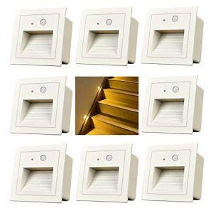 Arote LED Applique Encastré Murale d'escalier éclairage étape escalier lampe avec Détecteur de Mouvement … (Blanc 3000K, 8 pack) (Wonderful2018, neuf)