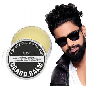 60g Baume de barbe pour hommes, beurre de moustache, cire de barbe, soin hydratant et hydratant pour la crème de croissance et lotion adoucissante, crème de soin et beurre pour homme (salmueu, neuf)