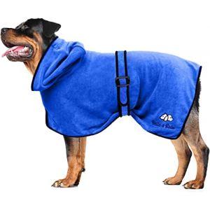 Bella & Balu Peignoir pour chien en microfibre - Peignoir pour grand chien absorbant pour séchage après baignade, bain ou sortie sous la pluie (L | Bleu) (ManuCo, neuf)