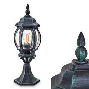 Borne extérieure Lentua, potelet vintage en aluminium moulé vert/noir de 50 cm de haut, luminaire de jardin pour une ampoule E27 max. 60 Watt, IP44, compatible ampoules LED (hofstein, neuf)